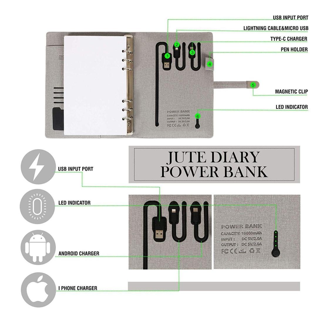 Jute Diary Power Bank 10000mAH with 16 GB USB Pendrive