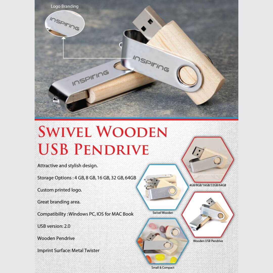 Metal Swivel Wooden Pendrive