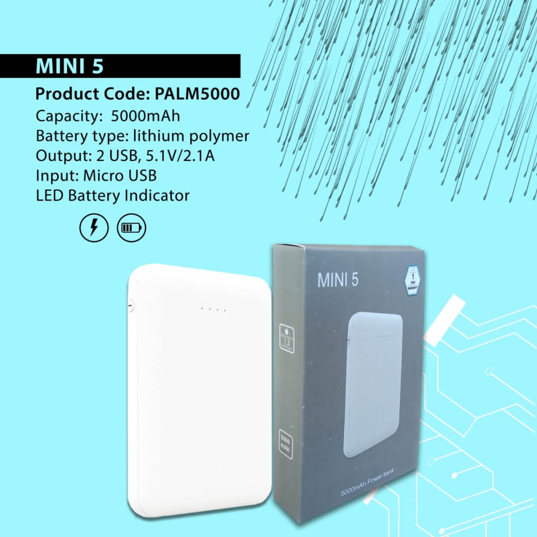 Mini 5 Portable 5000mAH Power Bank