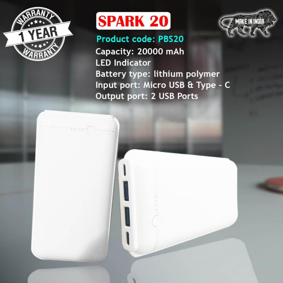 Spark 20 Portable 20000mAH Power Bank
