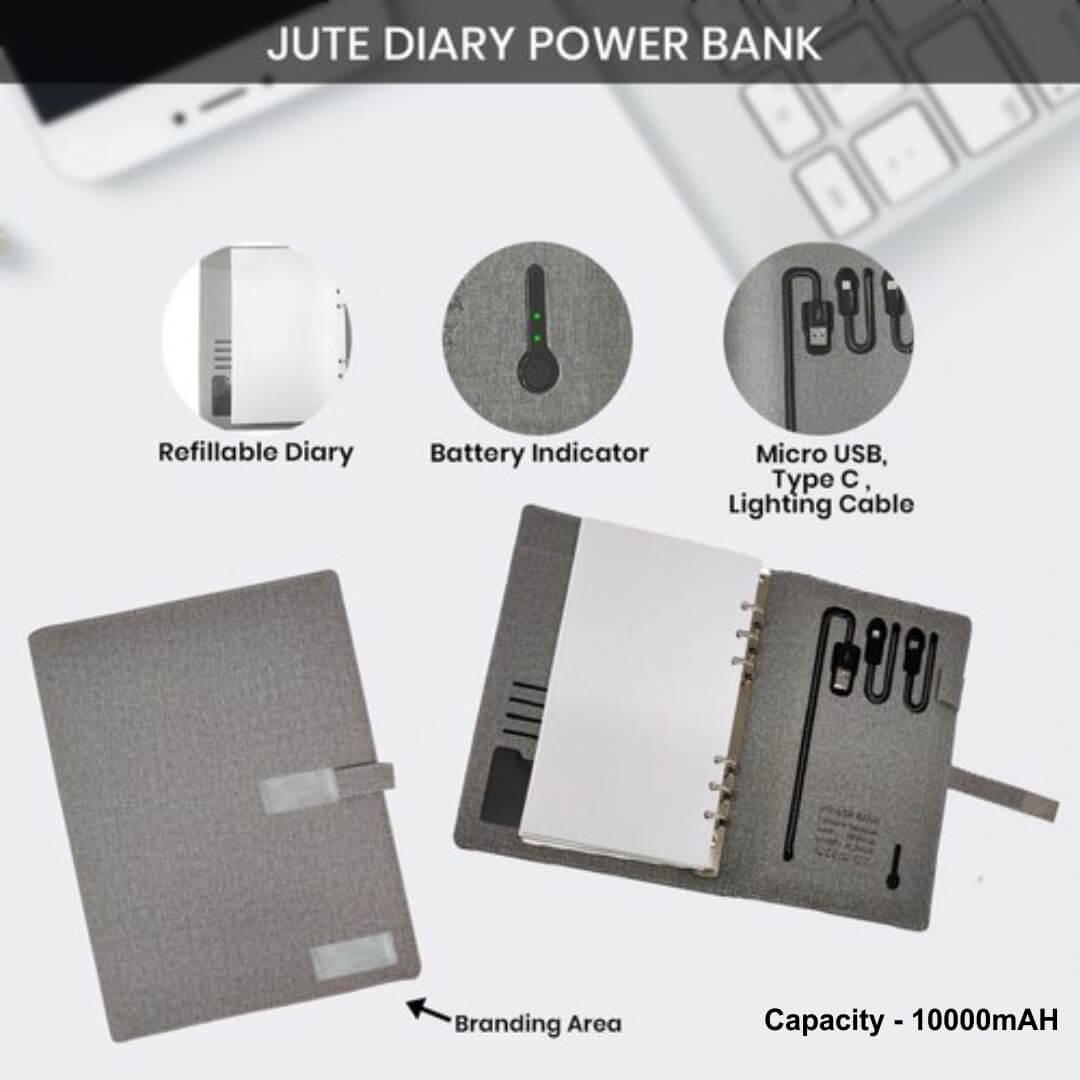 Jute Power Bank Diary 10000mAH