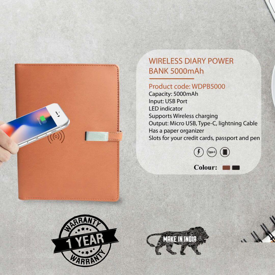 Qi Wireless Diary Power Bank 5000mAH