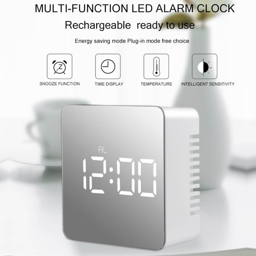LED Mirror Alarm Clock Digital Table Clock