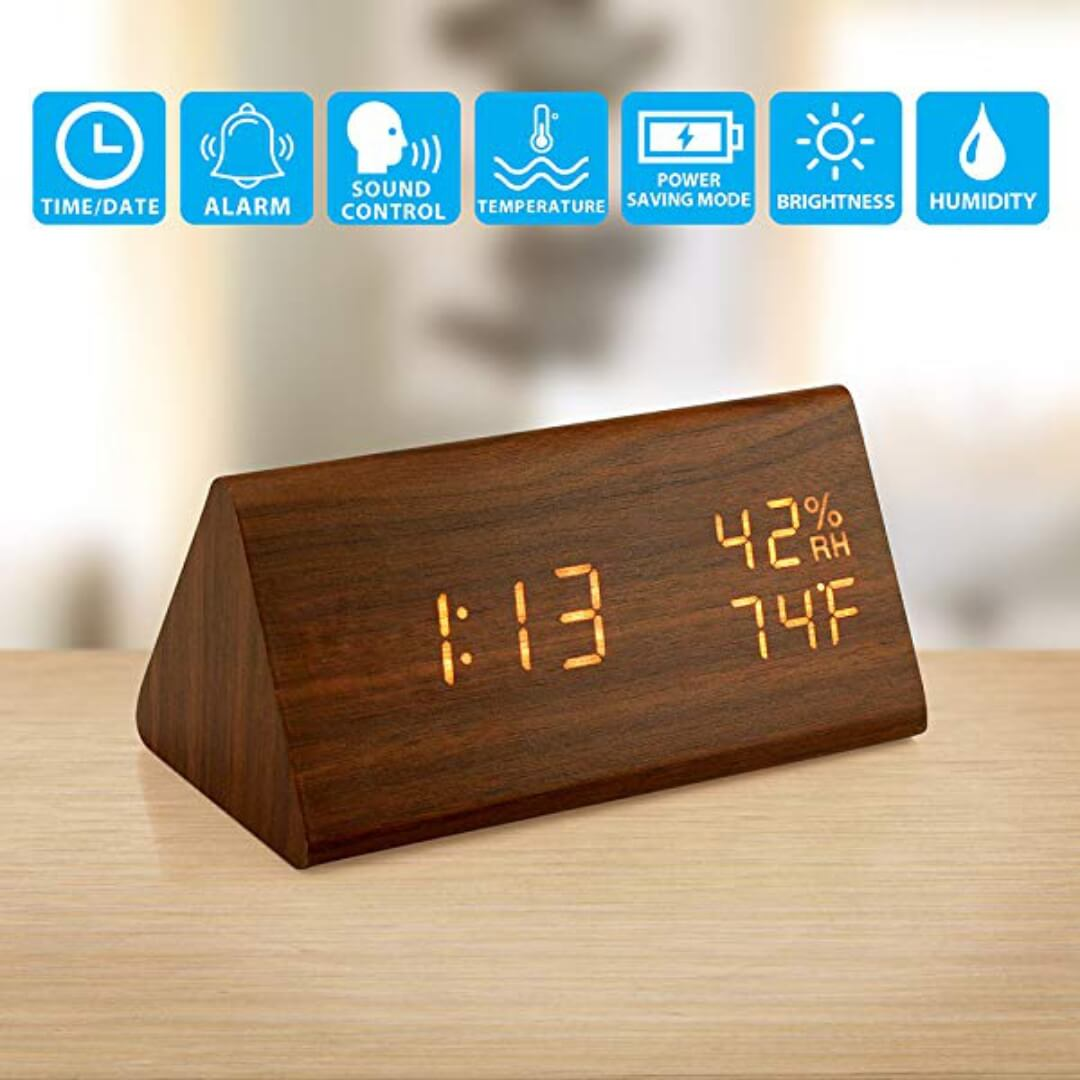 Wooden LED Alarm Clock Table Digital Clock