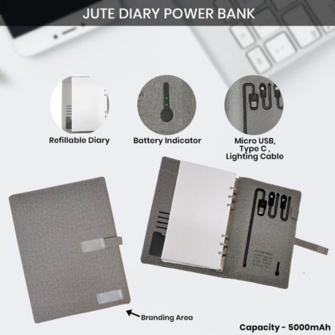 Jute Diary Power Bank 5000mAH